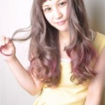 サマーピンクグラデーションカラー毛先カールロング
